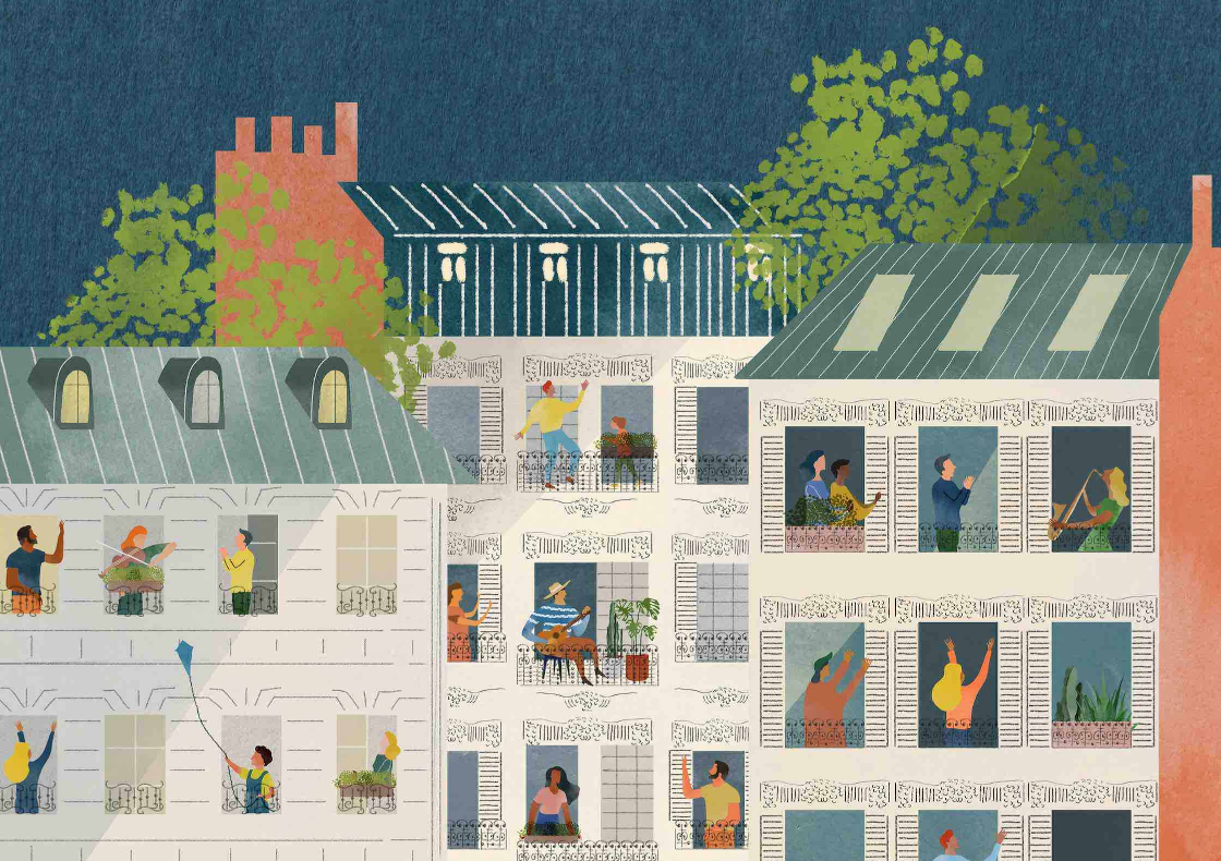 Illustration of many people of different ages and races in a high-rise apartment building doing various activities such as singing, dancing, flying a kite and gardening.